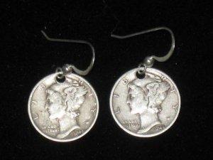 925 STERLING SILVER COIN MERCURY DIME  EARRINGS