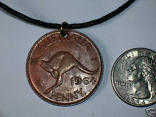 OLD AUSTRALIAN PENNY PENDANT NECKLACE KANGAROO COIN