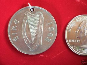 OLD IRISH COIN JEWELRY PENDANT NECKLACE HARP FISH