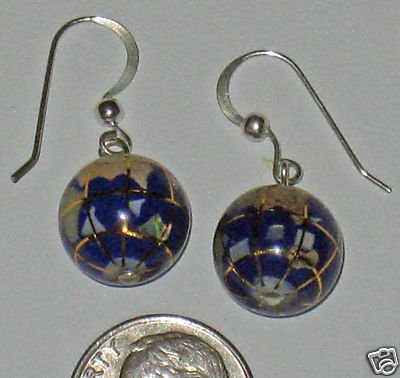 LAPIS GEMSTONE 925 STERLING SILVER WORLD GLOBE EARRINGS