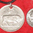 REVERSIBLE OLD IRISH COIN PENDANT NECKLACE HARP BULL
