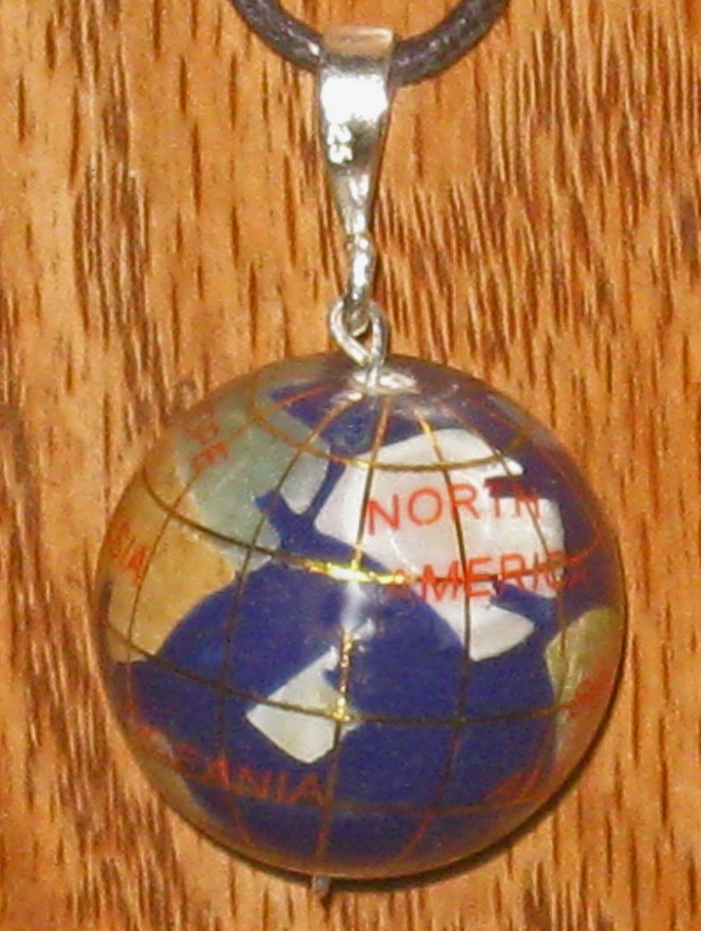 LARGE INLAY GEMSTONE GLOBE PENDANT NECKLACE JEWELRY