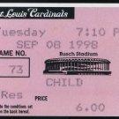 1998 Cardinals-Cubs Ticket Mark McGwire's 62nd Home Run