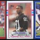 1989 TIM BROWN RC Lot; Pro Set, Score, Topps