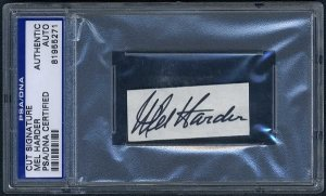 MEL HARDER Signed Cut, PSA/DNA Slabbed, Auto, Indians