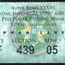 Super Bowl XXXIII Ticket Stub, John Elway MVP