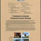 1989 Prehistoric Animals Stamp Souvenir Page US 2422-25