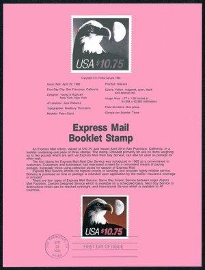 1985 $10.75 Eagle Express Stamp Souvenir Page US #2122