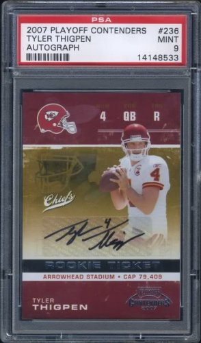 2007 Playoff Contenders 236 TYLER THIGPEN Auto RC PSA 9