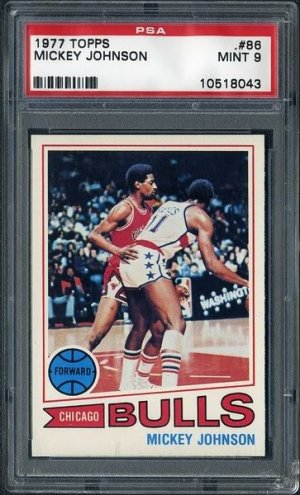 1977 Topps #86 MICKEY JOHNSON Card PSA 9 Bulls