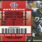 2007 Topps Ex DARRELL JACKSON Super Bowl XL Ticket Stub