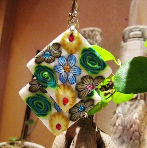 Lijiang flower earings/ethnic jewelry/clay flower earrings