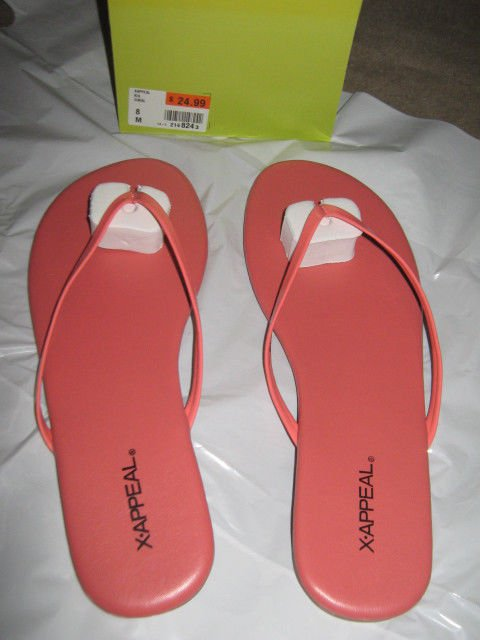 New X-Appeal Coral Color Sandals Size 8