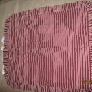 New 1 Maroon and White Stripe Ruffed Pillow Sham