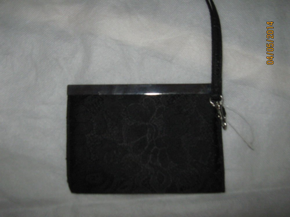 Black Floral Fabric Hand Clutch Organizer with hand strap