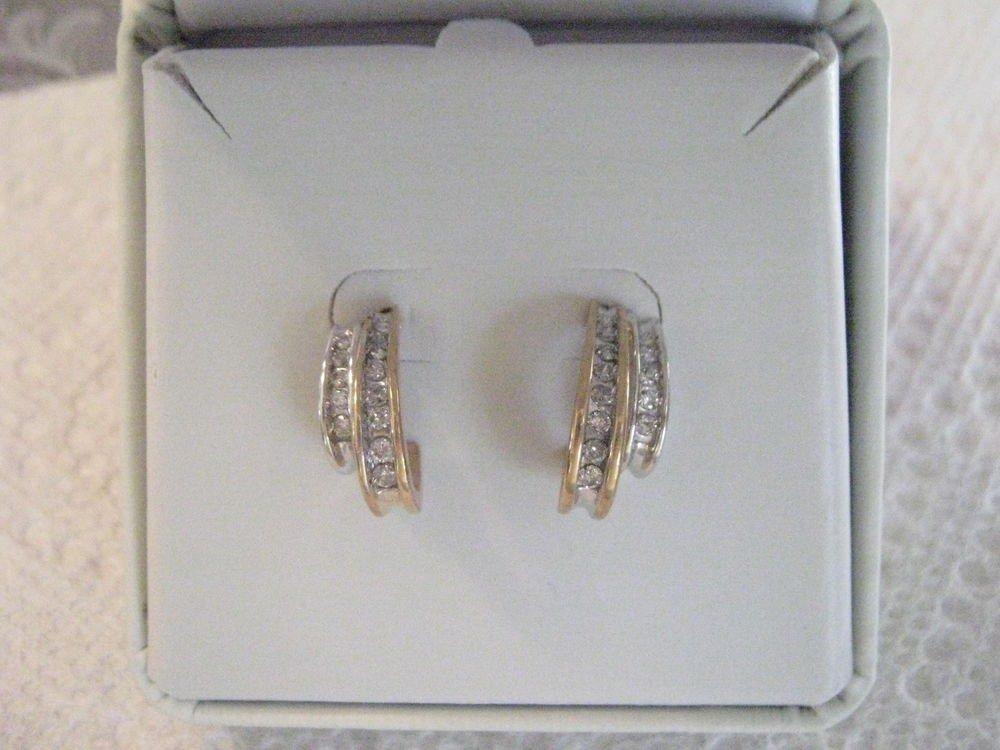 White & Yellow Gold Diamond Channel Set Earrings 10 kt NEW