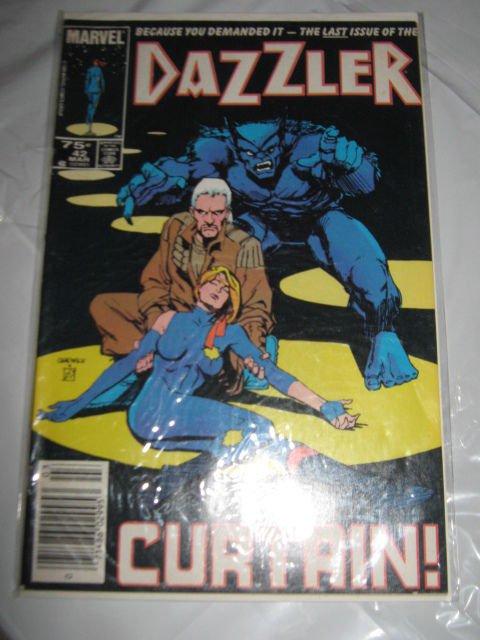 Marvel Comics Dazzler #42 Last Issue Curtain! Marvel Comics