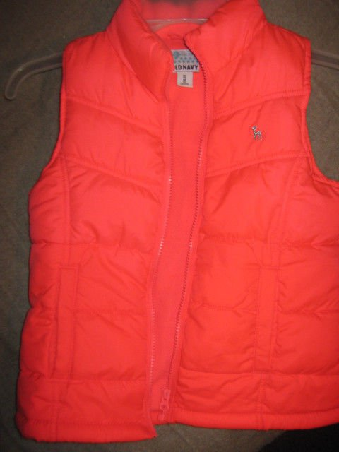 OLD NAVY Sleeveless Quilted Down Lined Zip Vest Sz 12 - Flourescent Orange - EUC