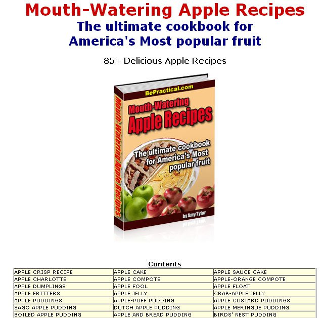 85 Mouth Watering APPLE RECIPES eBook on CD Printable
