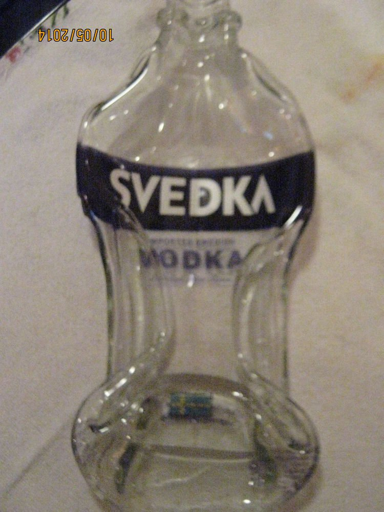 Slumped Svedka Vodka Bottle Spoon Rest / Butter Dish / Cheese Tray /Cigar Ash Tr