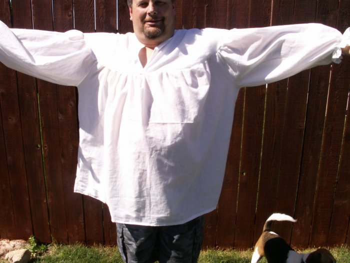 2XL White Primitive Renaissance Ghillie Jacobite Drop Yoke Kilt Shirt