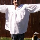 2XL White Primitive Renaissance Ghillie Jacobite Drop Yoke Kilt Shirt