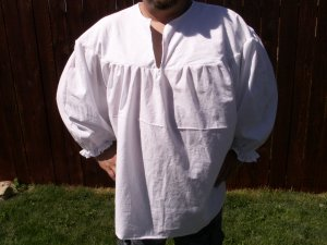 4XL White Primitive Renaissance Ghillie Jacobite Drop Yoke Kilt Shirt