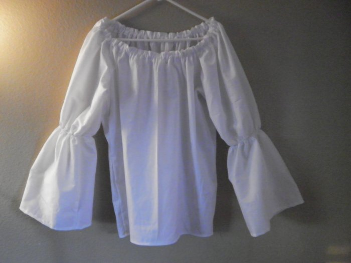 MEDIUM Womens Bell Flared Long Sleeve Renaissance Faire Shirt Blouse Chemise