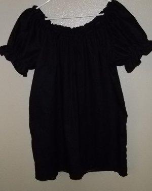 SMALL BLACK Womens Renaissance Faire Short Sleeve Blouse Chemise