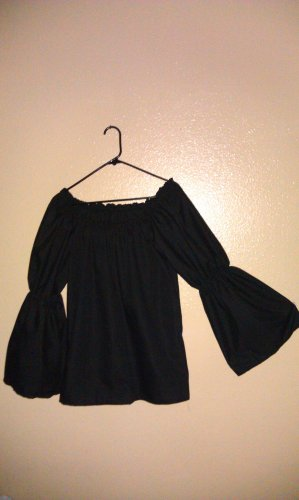 2XL BLACK Womens Renaissance Faire Flared Sleeve Blouse Chemise