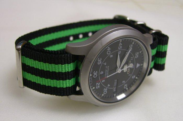 Black and Green Stripe 24mm James Bond  Nato Nylon Watch Strap
