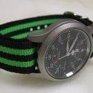 Black and Green Stripe 18mm James Bond  Nato Nylon Watch Strap