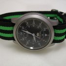 Black and Green Stripe 20mm James Bond  Nato Nylon Watch Strap