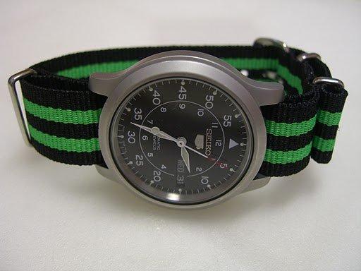 Black and Green Stripe 22mm James Bond  Nato Nylon Watch Strap