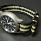 Black and Olive Green Stripe 22mm James Bond  Nato Nylon Watch Strap