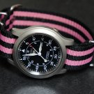 Black and Pink Stripe 20mm James Bond Nato Nylon Watch Strap