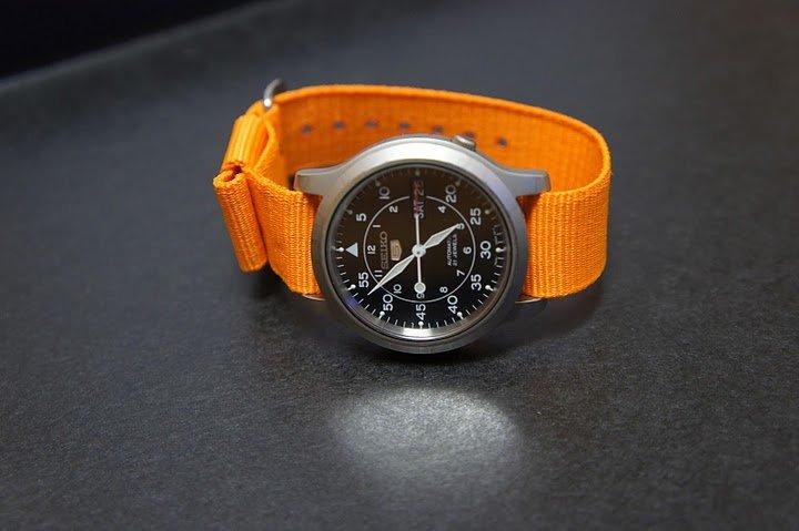 Orange 22mm Military Watch Strap