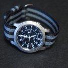 Black Gray Stripe 20mm Military Watch Strap