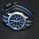 Black Gray Stripe 22mm Military Watch Strap
