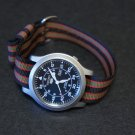 Black Red Olive Stripe 18mm Military Watch Strap