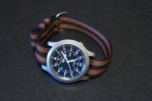 Black Red Green Stripe 20mm Military Watch Strap