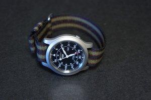 Black Dark Red Green Stripe 22mm Military Watch Strap