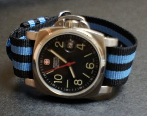 Black Blue Stripe 22mm Military Watch Strap