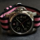 Black Pink Stripe 22mm Military Watch Strap