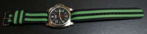 Black Green Stripe 22mm Military Watch Strap