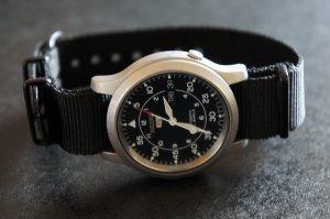 Black 24mm PVD Black Line Nato Nylon Watch Strap