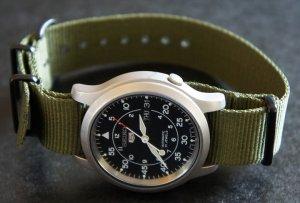 Military Green 22mm PVD Black Line Nato Nylon Watch Strap
