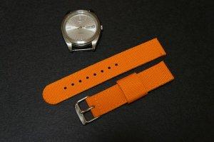 Orange 22mm 2 Piece Military Watch Strap