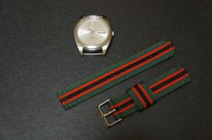 Green Black Red 18mm 2 Piece Military Watch Strap