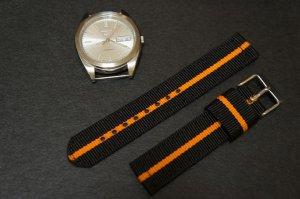 Black Orange 18mm 2 Piece Military Watch Strap